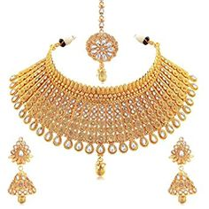 Buy Zaveri Pearls Gold Tone Traditional Temple Choker Necklace Set For Women-ZPFK8983 at Amazon.in Diamond Choker Necklace, Bridal Necklace, Necklace Set, Pearl Choker, Wedding Earrings, Crystal Necklace, Women's Jewelry Sets, Wedding Jewelry Sets, Women Jewelry