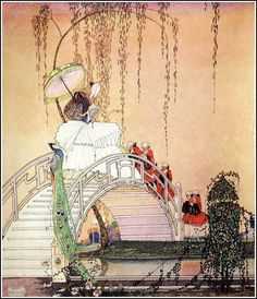 Princess Diaphanie walking in the Garden. Illustration by Kay Nielsen.