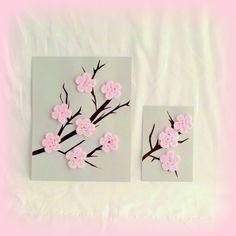 Cherry Blossom Art, Pink Cherry Blossom, Crochet Wall Art, Crochet Home Decor, 3d Art, Flower Wall Art, Crochet Flower, Paper Art. $28.00, via Etsy.
