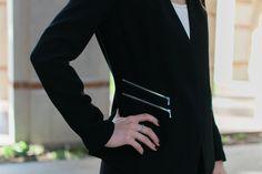 loving the modern zipper with a classic blazer