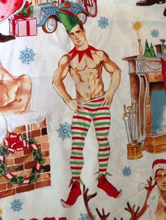 Hurry Down The Chimney Christmas Fabric by FindsbyFancyPantsRos