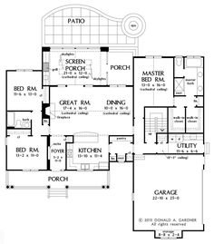 Wonderful layout! Houseplans.com - I would modify the WIC & Master bath, after removing the stairs. All to make the wife of total build 52' max. This is such a great layout! Bedrooms are a tad big, I would reduce to under 10x10 and possibly make one a study/den.