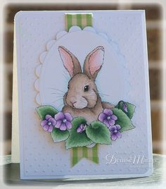 Sweet bunny among violets...beautiful copic coloring...