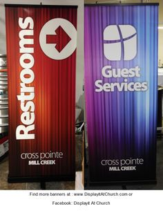 Cross Pointe Church (Duluth GA) opened their satellite church at Mill Creek High School.  They kept the backgrounds interesting, the type large and easy to read and use signage all around the high school to turn the area into a church each week.