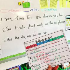 I use sentence fixers. They're a fun way to address the errors. I start the year fixing sentences whole group, then the sentence fixer sheets become morning work. Very effective! Kids Writing, Teaching Writing, Writing Activities, Writing Skills, Teaching Kids, English Activities, Writing Process, Sentence Writing, Writing Sentences