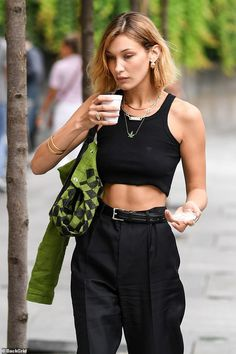 Bella Hadid flashes her toned tummy in a crop top in Milan. # Fashion week Bella Hadid flashes her toned tummy in a crop top in Milan Bella Hadid Outfits, Bella Hadid Style, Bella Hadid Hair, Kendall Jenner Outfits, Milan Fashion, Look Fashion, Womens Fashion, Fashion Trends, Celebrity Fashion Outfits
