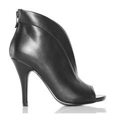 Botki - Czarne Imponujące Open Toe - Zgrabne - www.BUU.pl #botki #fashion #shoes #black