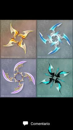 Holy Fuck these are awesome. DO NOT edit, trace, copy or repost these designs! They belong to people who bought them. 1 (orange) - sold to GuardianofLightAura 2 (blue) - sold to ZoeVulpez 3 (violet) - sold to 4 (turqu. Armas Ninja, Shuriken, Pretty Knives, Cool Swords, Anime Weapons, Weapon Concept Art, Knives And Swords, Dungeons And Dragons, Fantasy Art
