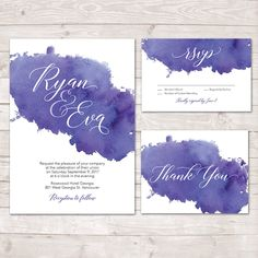 Watercolor Wedding Invitation, Watercolor Invite, Thank you card, RSVP, Printable Invitation, Purple Watercolor Invitation, Wedding Invite by LMNDesignStudio on Etsy https://www.etsy.com/ca/listing/512957809/watercolor-wedding-invitation-watercolor