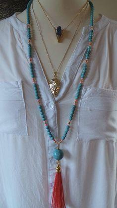 693b7c4578ce Collar largo perlas borla color turquesa y coral. Collar de Pulseras De  Chaquira