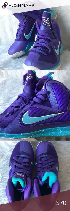 Purple and Teal Lebron 9's (Hornets) Super clean, great condition. Clean soles Nike Shoes Sneakers