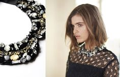 The ALINE is a jeweled black fabric collar enhanced with stones which give the effect of a necklace.