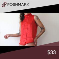 cf19a7d824 70s 80s 90s red sleeveless turtleneck shirt 70s 80s 90s button down back  sleeveless shirt silk