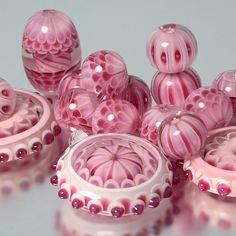 Lampwork beads by Helen Gorick. Pretty!