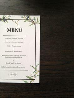 Dinner menu   Made by Inge Joosten
