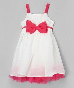 Look at this #zulilyfind! White & Pink Bow Dress - Toddler & Girls by Bonny Billy #zulilyfinds
