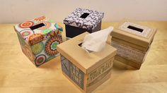Caja para pañuelos kleenex hecha con cartón