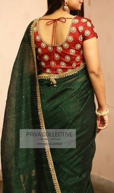 PV 3694 : Green and Maroon Price : Shine bright and bold in this very colourful combination of bottle green jute sari with sequins work and a golden borderUnstitched blouse piece : Maroon handwork blouse as displayed in the pictureFor Order 06 June 2018 Saree Blouse Neck Designs, Blouse Patterns, Bottle Green Saree, Maroon Saree, Baby Girl Dress Patterns, Saree Trends, Elegant Saree, Trendy Dresses, Fett