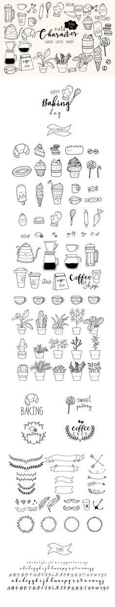 100 Cute Hand Doodle Vector  by beerjunk on @creativemarket