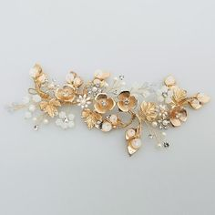 FLORA | Gold and Crystal Floral Headpiece – The Luxe Bride Co