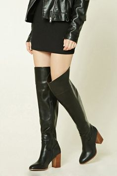 130f2b3dd9 Forever 21 Faux Leather Knee-High Boots Platform Boots