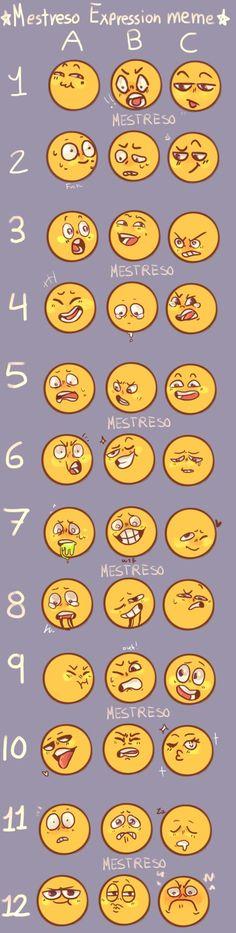 Mestreso Expression Meme by Mestreso on DeviantArt Drawing Cartoon Faces, Cartoon Art, Facial Expressions Drawing, Expression Sheet, Emotion Faces, Body Drawing Tutorial, Drawing Prompt, Art Prompts, Face Facial
