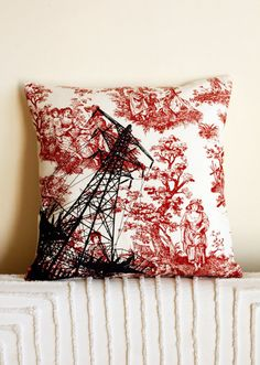 Love how stark and contrasting the electricity tower is with the colonial fabric. #Screenprint pillow #Etsy