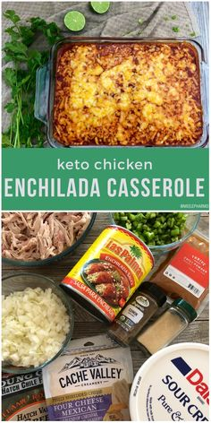 This Keto Chicken Enchilada Casserole is a low carb twist to everyones favorite Mexican dish. Simply omit the high carb ingredients and add on more fats and this will be an easy Keto Meal. Chicken Enchilada Casserole, Enchilada Recipes, Enchilada Ingredients, Keto Casserole, Health Casserole Recipes, Healthy Chicken Enchiladas, Low Carb Enchiladas, Keto Chicken Salad, Low Carb Tacos