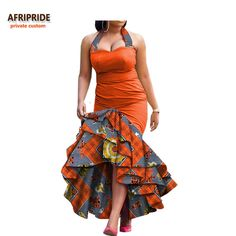 2018 new spring dress for women african print AFRIPRIDE sleeveless ankle-length 3 layers halter women dress African Dress Patterns, African Dresses For Kids, African Fashion Ankara, Latest African Fashion Dresses, African Dresses For Women, African Print Fashion, Africa Fashion, African Attire, African Women