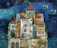 Valeri Tsenov village of Letchevo, District Montana, Bulgaria) Folk, House Sketch, Art For Art Sake, 2d Art, Fairy Houses, Best Artist, Home Art, Landscape Paintings, Fairy Tales