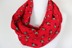 Red Floral Scarf, Flower Print Infinity Scarf, Red Green Loop Scarf, Flowers Patterned Scarf, Wrap Scarf, Floral Circle Scarf, Gift For Her