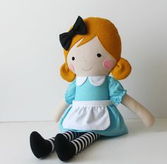 Made to Order. Alice in Wonderland rag doll. Fabric doll. Nursery decor. Fabric dolls to decorate and play-Alice art doll