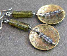 Sterling Silver Brass Disk Earrings Green Grossular Garnet Blue Iolite Mixed Metal Artisan Jewelry