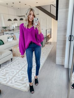 Nordstrom Anniversary Sale 2019 | First Picks Try-On Haul | Dani Austin Winter Sweater Outfits, Cardigan Outfits, Sweater Cardigan, Purple Sweater, Dani Austin, White Lace Cami, White Platform Sneakers, Cute Outfits With Jeans, Spanx Faux Leather Leggings