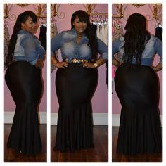 Plus sized Fashion Denim top and Mermaid Skirt, $62.00 (http://www.tinkascloset.com/denim-button-down/)