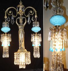 Vintage Spelter brass hanging lamp Lady Chandelier Aqua Opaline glass Victorian