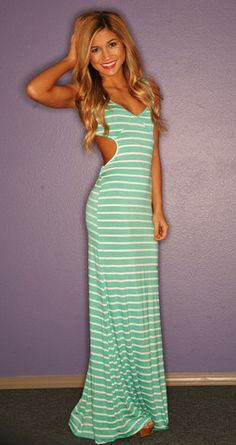 Divine Stripe Maxi in Mint - i love this site! adorable dresses at very inexpensive prices