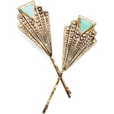 ModCloth Vintage Inspired Deco-rate Your 'Do Hair Pin Set ($5.99) ❤ liked on Polyvore featuring accessories, hair accessories, hair, jewelry, modcloth, hair clip, other accessory, vintage style hair accessories, lace hair accessories and barrette hair clips