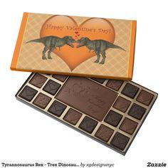 Tyrannosaurus Rex - Trex Dinosaur Love Valentine 45 Piece Box Of Chocolates. #Valentine #Chocolate #ValentineChocolate #ValentinesDay #candy #heartcandy #zazzle #TyrannosaurusRex #Trex #Jurrasic