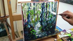 Palette Knife painting   Silver Birch Forest , part 2