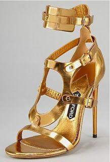 Gold Tom Ford heels.