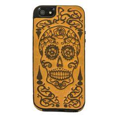 Oberon's Leather iPhone Case | Sugar Skull | Marigold