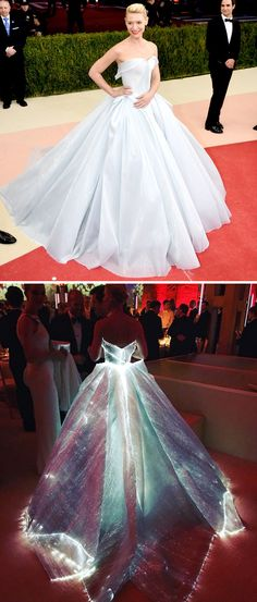 Claire Danes glowing in a Cinderella-esque Zac Posen gown lined with fibre…