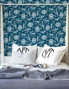 Floral Removable Wallpaper Indigo