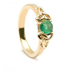 Airmid was one of the Tuatha De Danann and expert in the medicinal use of herbs. This beautiful solitaire emerald engagement ring is unmistakably Celtic. The rich green of the emerald is complemented by the 14K yellow gold Trinity knot setting.  The ancient Trinity knot design symbolizes eternal life, nature and love. Inside the band is the hallmark of the Dublin Assay Office, your assurance of quality.  Emerald Carat: .42 - .50ct approx.  ► MORE CELTIC ENGAGEMENT RINGS