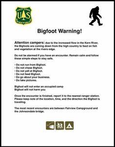‼️Bigfoot Warning‼️