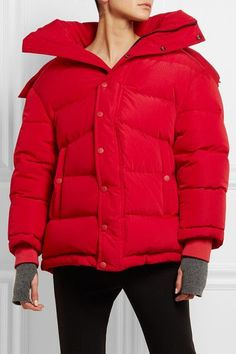 Red shell  Snap and concealed zip fastenings through front  100% polyester; filling: 80% down, 20% feathers (Duck) Specialist clean Made in France