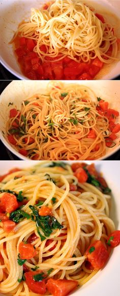 Pasta with Fresh Tomato Sauce. Imagine those vine-ripe tomatoes straight from the garden:)