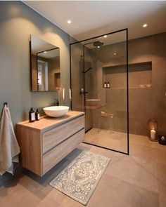 Keeping Your Bathroom and Bedroom Contemporary With Modern Furniture and Vanities. The bathroom is probably the most private places at home where we u... Interior Simple, White Interior Design, Interior Ideas, Interior Modern, Modern Exterior, Home Interior, Upstairs Bathrooms, Ensuite Bathrooms, Shower Bathroom