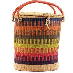 African Basket - Ghana Bolga - Lidded Laundry Hamper - 18.5 Inches Across - #57762